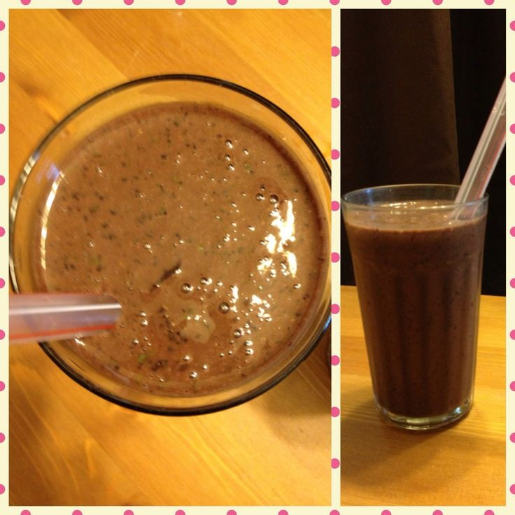A healthy chocolate milkshake? Yes! Milk, spinach, banana, blueberries, cocoa powder, flax seed & dates, Blend together and enjoy! So easy & so yummy!