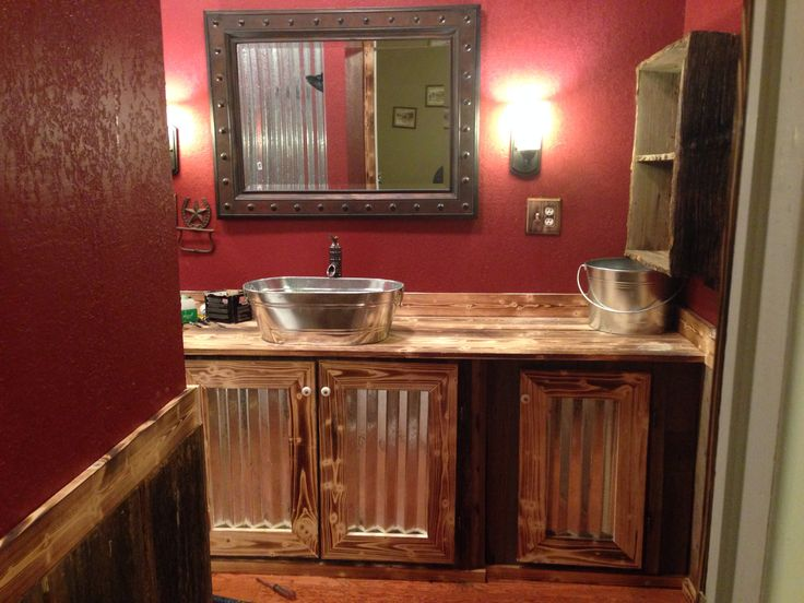 Part 2 of our rustic bathroom the bottom half is old barn for Kitchen cabinets lowes with bathroom wall art pinterest
