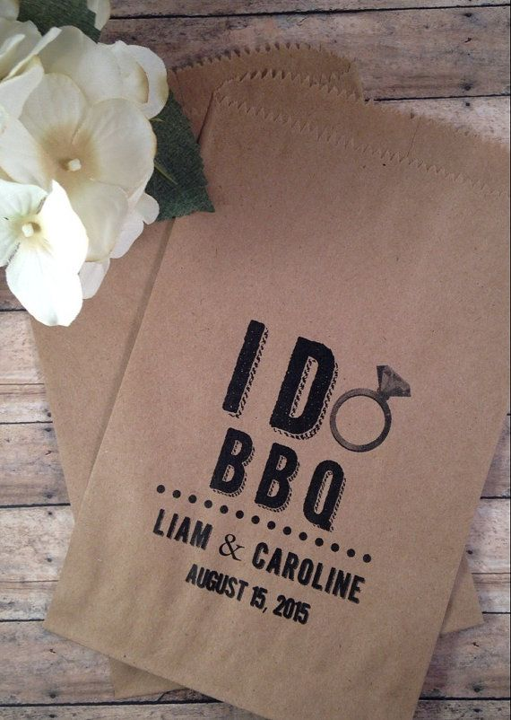 I DO BBQ Couples Shower Favor, Silverware Holder Bag, Wedding BBQ or Rustic Outdoor Party Shower Decorations Buffet