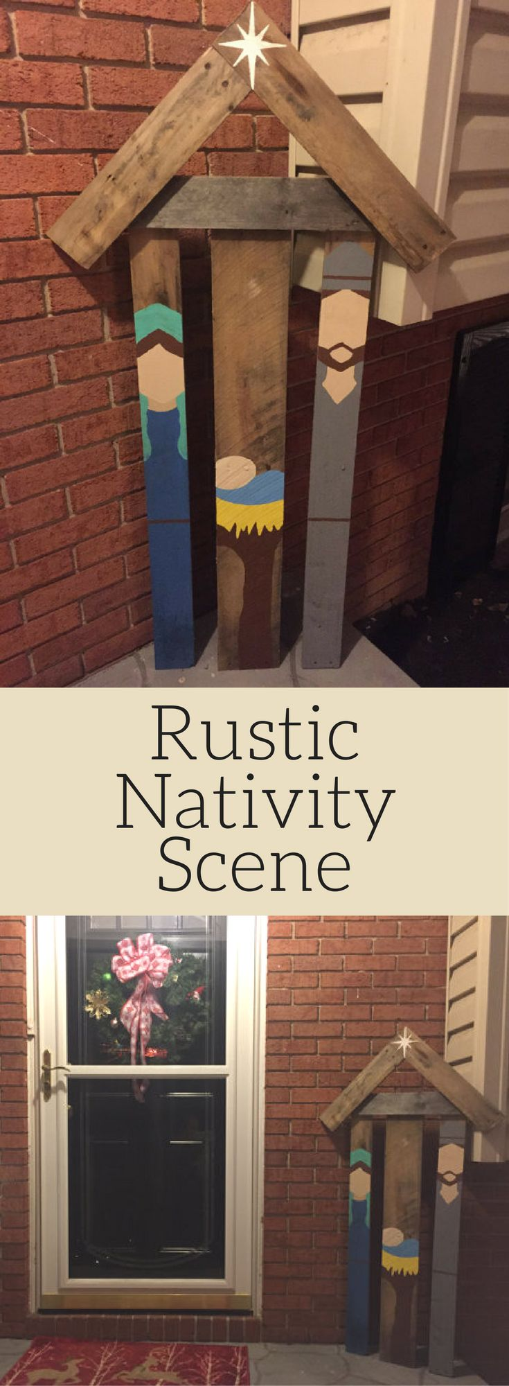 Rustic Nativity Scene - love the simplicity! Reclaimed pallet wood nativity scene, Rustic Christmas, Jesus birthday, Christmas decor, Christmas outdoor decoration, Christmas porch decor, Rustic decor #ad