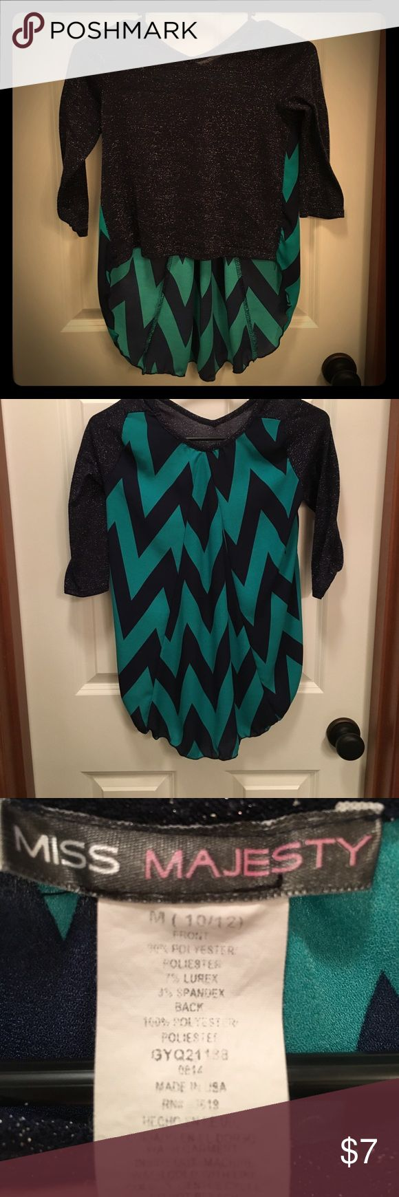 Miss Majesty 3/4 chevron shirt. Black sparkles on front with black and green chevron on back. Higher in front lower in back. Cute with leggings. Miss Majesty Shirts & Tops Blouses