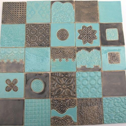 kafle szarośc z turkusem w dekornia na DaWanda.com