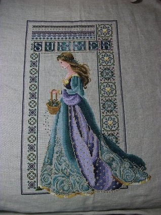 Gorgeous 'Celtic Summer' from Lavender & Lace, stitched by Kelly. www.i-love-cross-stitch.blogspot.com