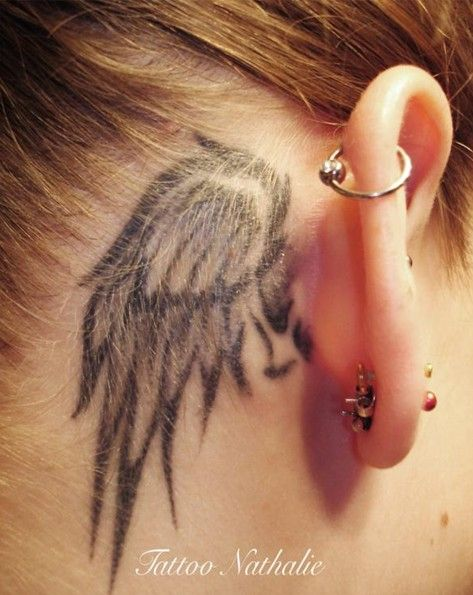 30 Angel Tattoos Designs: Cute Small Angel Wing Tattoo Behind Ear