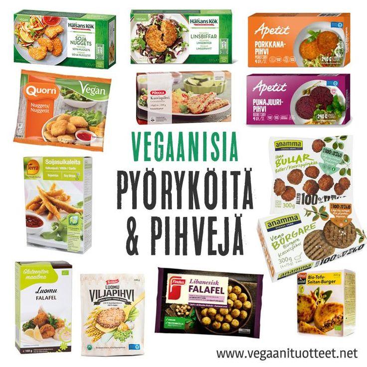 Vegaanisia pyöryköitä ja pihvejä mm. soijasta, kikherneistä, kasviksista ja vehnägluteenista. Suurin osa kuvassa näkyvistä tuotteista on pakasteita.  Lisää vegepullia ja kasvispihvejä (myös nakkeja, tofuja, jne) löydät tästä listasta: http://www.vegaanituotteet.net/valmisruuat/soijaruoka
