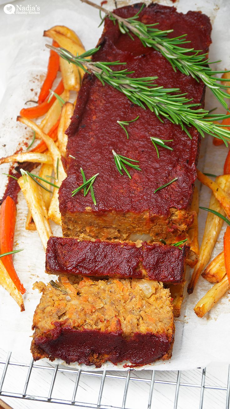 Lentil and chickpea meatloaf. Could substitute flour or breadcrumbs for rice flour, if gluten isn't a problem?