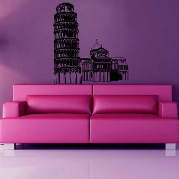 Italian Wall Art For Living Room : Pisa tower wall decals italy interior design italian