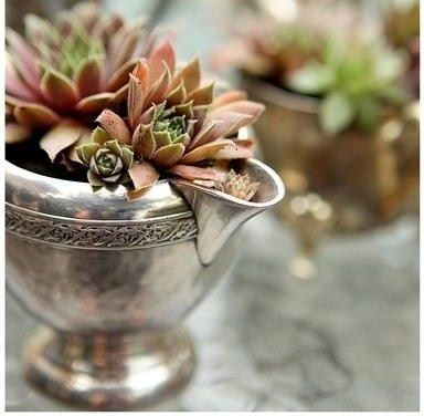 10. Not using the old silver? Plant it! | Community Post: 17 Charming Garden Art DIYs