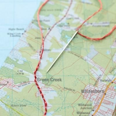 Embroidered Map Artwork {Artwork}- fun way to log where you have traveled!