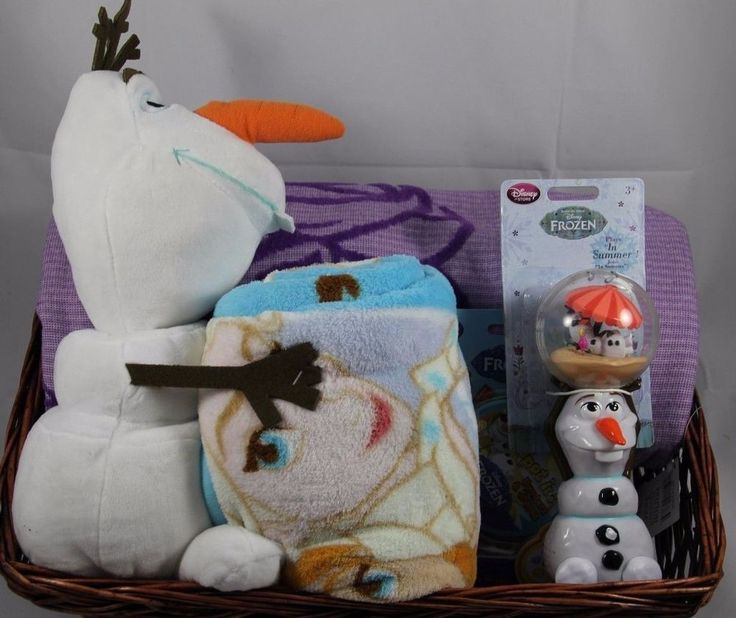 Looking for a gift for that Frozen fanatic in your life?!  Check out this Disney Frozen Gift Basket which includes an Olaf Plush with Blanket, Elsa Beach Towel, Olaf Toy, and Frozen Spot-It Game.