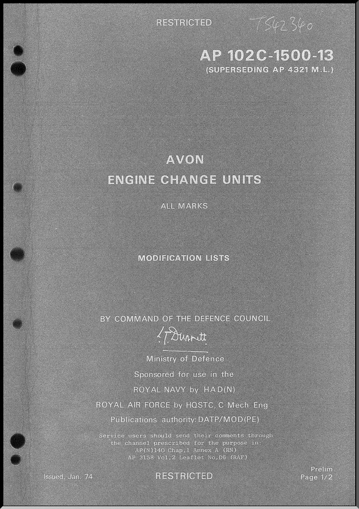 Rolls Royce Avon All Marks Aircraft Engines Change Units