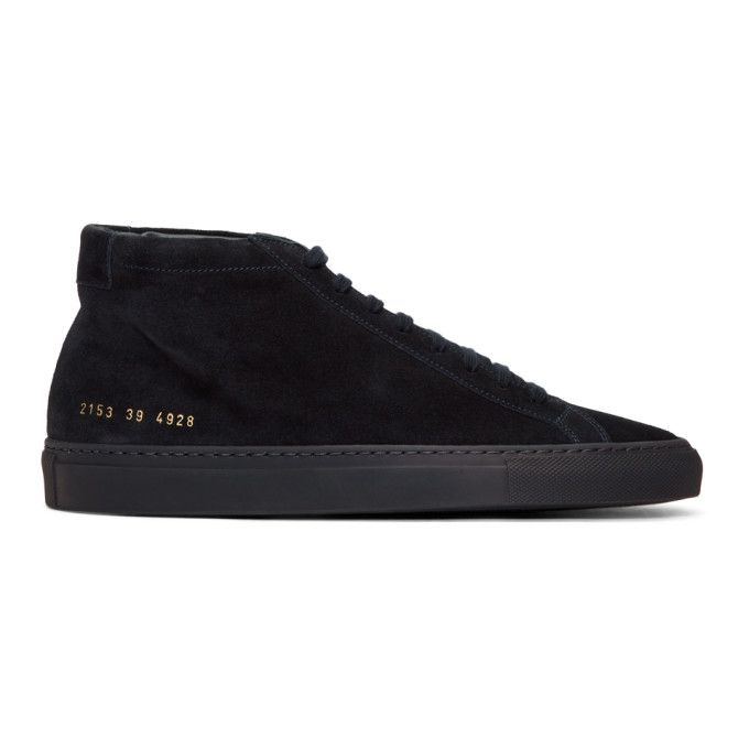 sports shoes 6d2e6 d4917 COMMON PROJECTS Navy Suede Original Achilles Mid Sneakers.  commonprojects   shoes