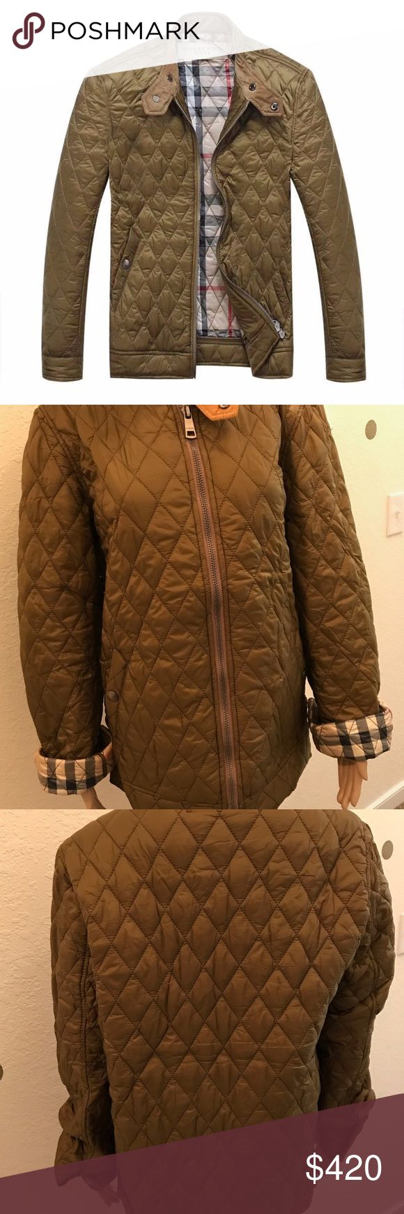 """NWT 100% AUTH BURBERRY BRIT MENS QUILTED JACKET NWT 100% AUTH BURBERRY BRIT MENS QUILTED JACKET (NO DEFECTS) Retail: $649 Color: Black Size: LARGE (PLEASE READ MEASUREMENTS BELOW FOR ACCURATE SIZING) Measurements: Chest: 21"""", Shoulder to hem: 28"""", Underarm pit to hem: 16.5"""", Sleeve: 27"""" PLEASE ASK ALL NEEDED QUESTIONS PRIOR TO PURCHASING!!!  PROMPT SHIPPING!!!  PERFECT STYLISH APPAREL FOR THE FALL! Burberry Jackets & Coats"""