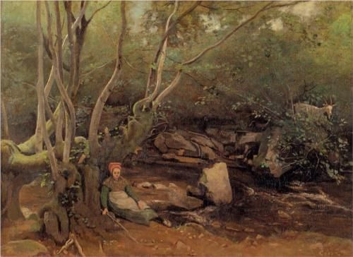 Lormes Shepherdess Sitting under Trees beside a Stream - Camille Corot