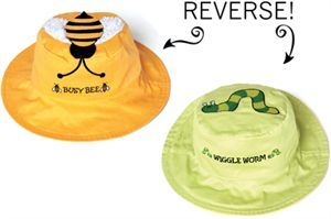 Picture of Worm Wiggle Worm & Bee Busy Bee Bucket Hat Reversible (Age 0-2)