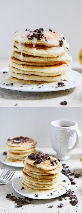 Whipped Ricotta Pancakes with Lemon Glaze I howsweeteats.com