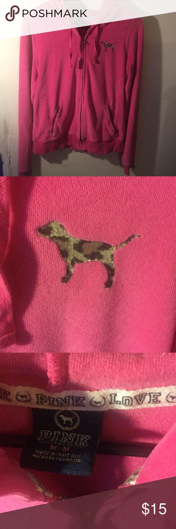 PINK Victoria's Secret hot pink zip up hoodie Cheetah print dog on the front with PINK in animal print on the hood. Size medium. PINK Victoria's Secret Tops Sweatshirts & Hoodies