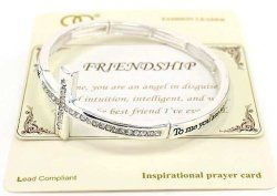 "To me, you are an angel in disguise, Full of intuition, intelligent & wise. You're the best friend I've ever had."" - Friendship Blessings Engraved Cross Stretch Bracelet with Inspiratinal card in a Gift Box by Jewelry Nexus "" - Happy Friendship Day Gifts - festchacha.com"