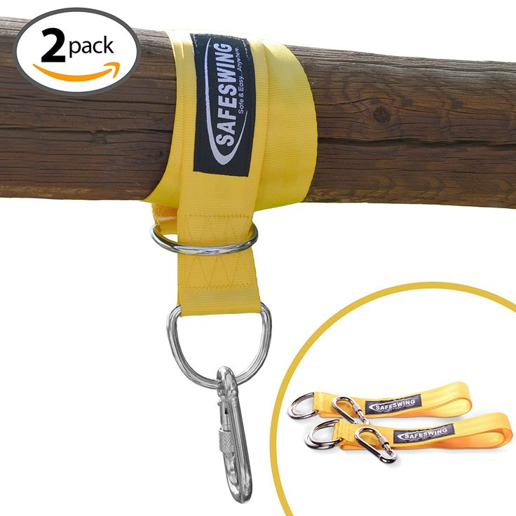 Amazon.com : SafeSwing - Swing & Hammock Hanging Kit Straps -Heavy Duty Locking Carabiners- Safety Yellow -Safely Hang a Childs Swing or Hammock from Tree, Branch or Beam!Perfect for Hammocks & Outdoor Uses-2 PACK : Patio, Lawn & Garden