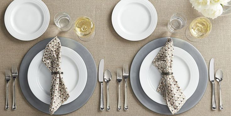 Galvanized metal charger plates from Crate & Barrel