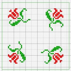 Biscornu flowers chart