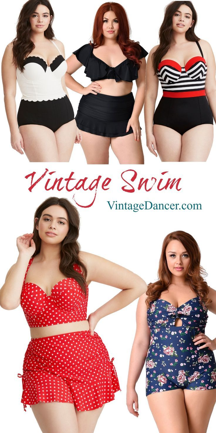 Vintage swimsuits in plus sizes. one and two piece retro inspired pinup worthy bathing suits for epic summer pool parties.