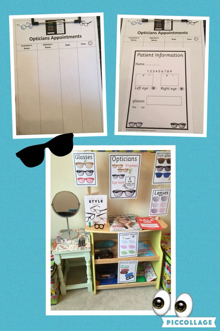 Opticians Role Play area at home