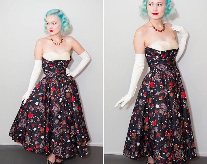 1950's Fred Perlberg Party Dress   Strapless Shelf Bust Black Silk with Red, Brown, Grey & White Print   Full Skirt   Size XS