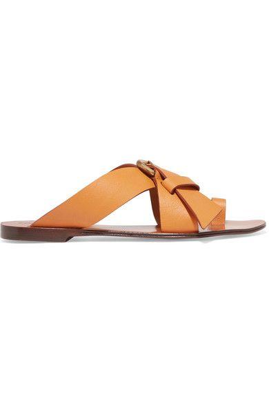 Chloé - Nils Textured-leather Sandals - Pastel orange - IT39.5