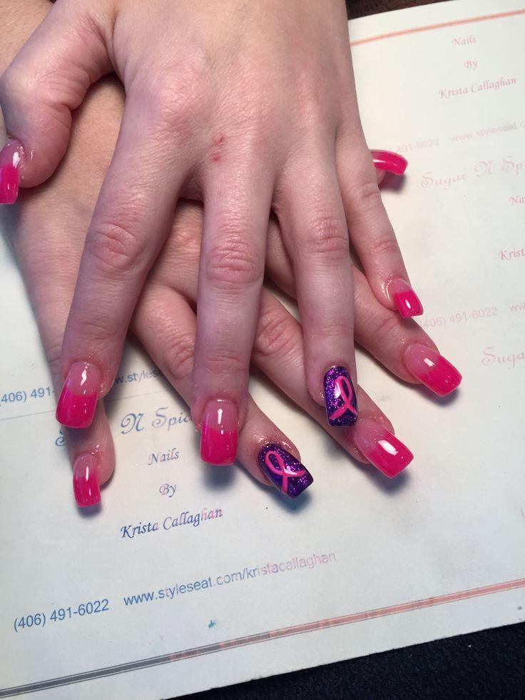 Breast Cancer Awareness Nails; pink acrylic tips, acrylic nail design, accent nail, glitter acrylic  #acrylicnails #halloweennails #amazingnails #nailart
