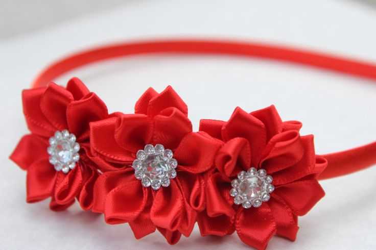 red headband red flower girl headband satin by SummerBloomKids
