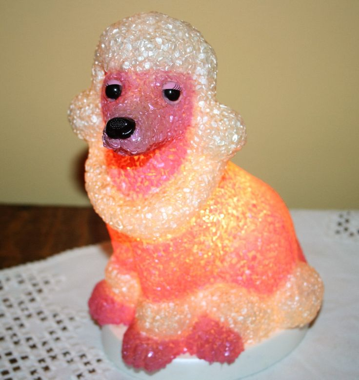Vintage Pink And White Poodle Night Light Lamp Rubber
