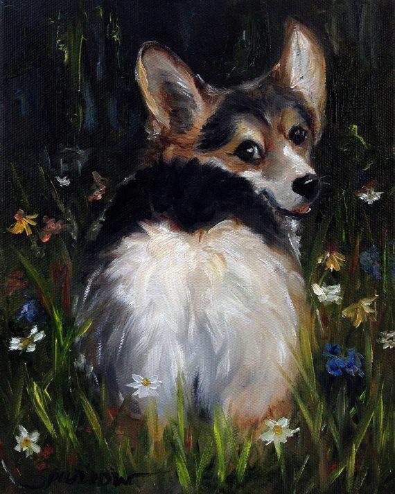 PRINT Pembroke Welsh Corgi Dog Art Oil by HangingtheMoonShelby, $29.95