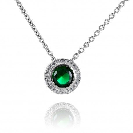 Stříbrný náhrdelník s kulatým smaragdem a zirkony