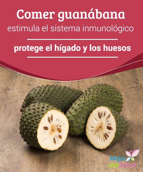 Comer guanábana estimula el sistema inmune y protege el hígado Cien gramos de guanábana nos aportan una tercera parte de la cantidad diaria recomendada de vitamina C y nos ayudan a neutralizar la acción de los radicales libres