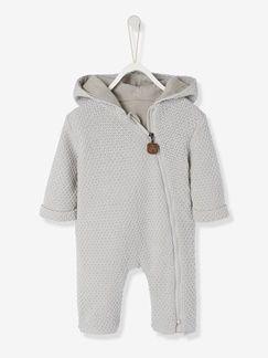 Combinaison bébé en tricot doublé à capuche - gris