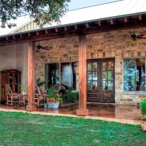 german farmhouse stucco | Prado Crossing Custom Home | Boerne Custom Architectmsaofsa.com - outside beams, stucco/stone combo