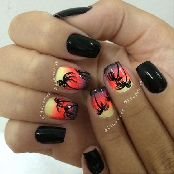 A dark theme d Palm Tree Nail Art design. Mostly palm tree designs are in light colors but this color combination also makes it work out. The design is able to use the black and dark orange colors to make an afternoon sky with hints of yellow on the top.