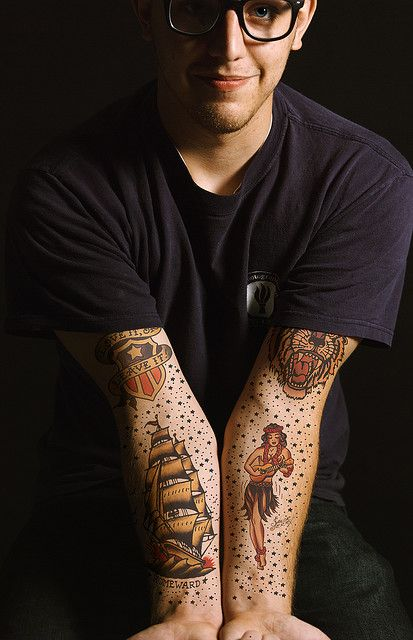 This is what I want to do on Josh's arms as filler--The stars. Not so much space between tats though.