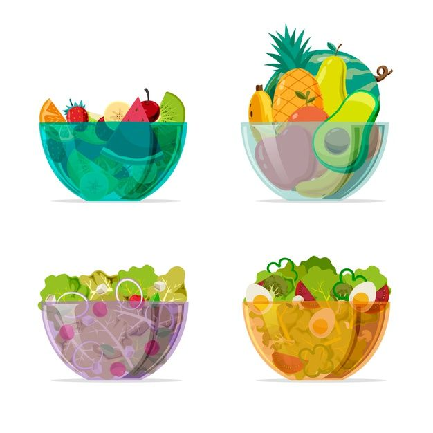 Download Coloured Transparent Bowls With Salad For Free In 2020 Healthy Food Logo Bowl Fruit Clipart