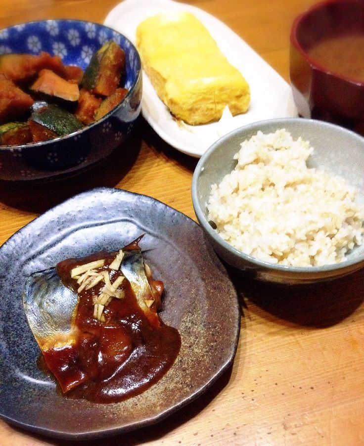 the Japanese dinner Boiled mackerel of miso Pumpkin simmered Fried eggs Miso soup Brown rice  鯖の味噌煮 カボチャの煮物 卵焼き 味噌汁 玄米ご飯  #food #yummy #oishii #japan