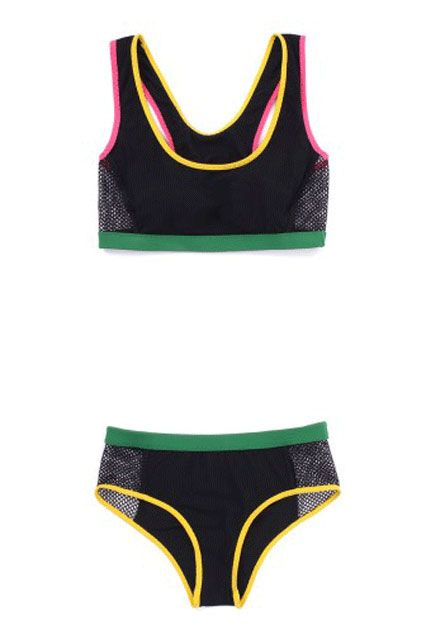 http://www.refinery29.com/swimsuit-styles#slide-19  Sporty Bikini Bright colors and mesh: it's practically a track uniform.