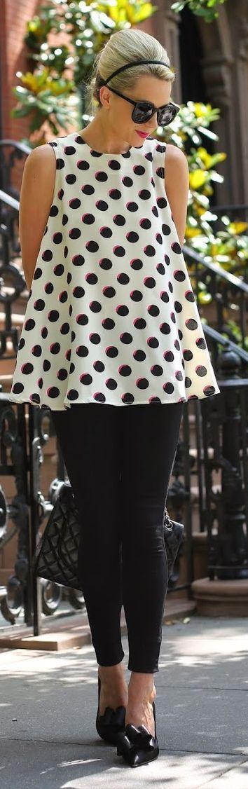 Jovonna London Black And White Women's Polka Dot Flare Sleeveless Blouse by Atlantic - Pacific