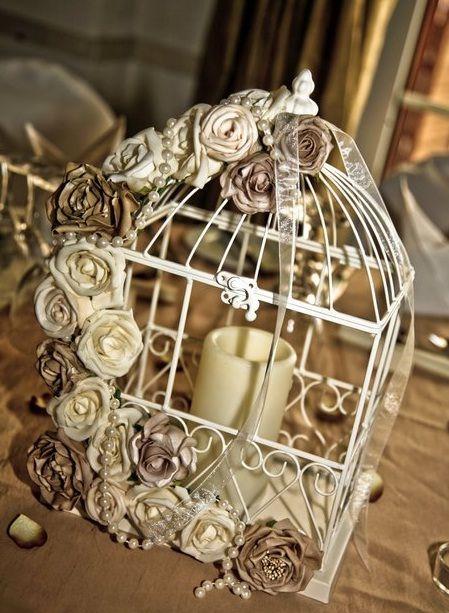 birdcage centerpiece roses pearls | Unique Wedding Idea – Birdcage Centerpieces