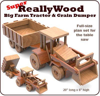 Super Reallywood Big Farm Tractor Grain Dumper Full Size Wood Toy
