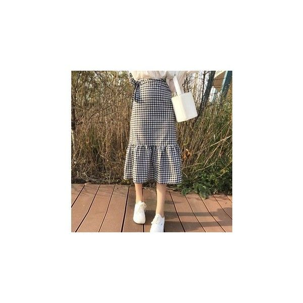 Gingham Ruffle Skirt ($16) ❤ liked on Polyvore featuring skirts, women, long ruffle skirt, frilled skirt, brown ruffle skirt, frilly skirt and brown maxi skirt