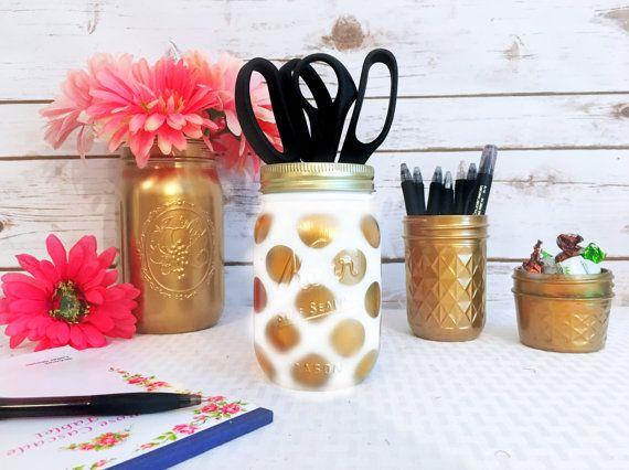 Gold Desk Accessories Gold Mason Jars Gold by CuteAndSimpleDesign