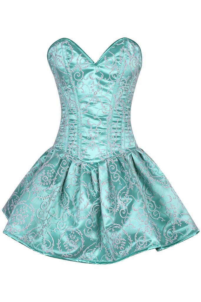 Top Drawer Regal Mint Green Steel Boned Corset Dress