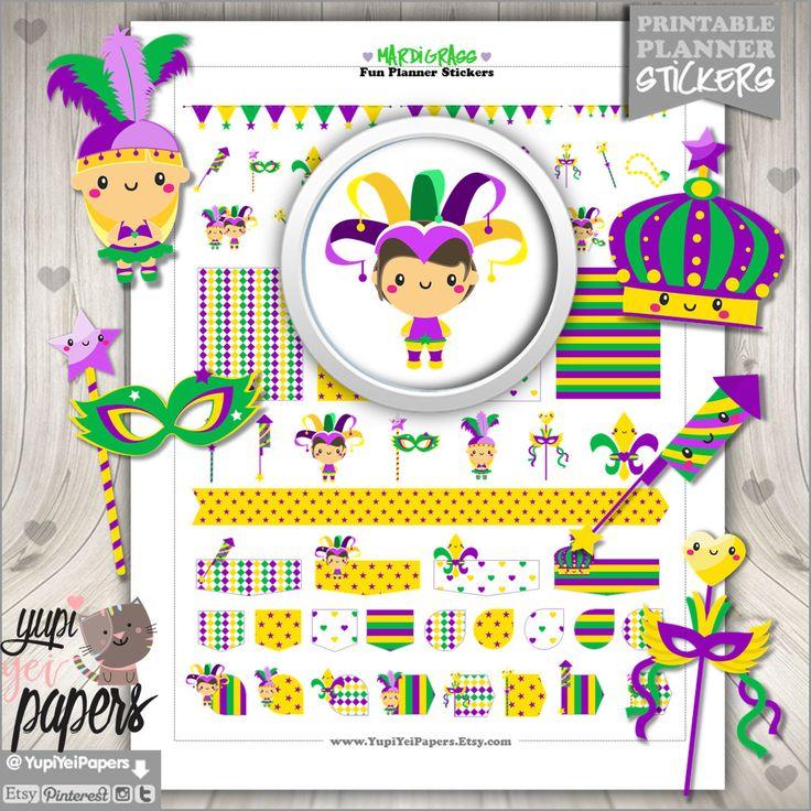 50%OFF - Mardi Gras Stickers, Planner Stickers, Mardi Grass Planner Stickers, Carnival Stickers, Carnival Planner Stickers, Kawaii Stickers