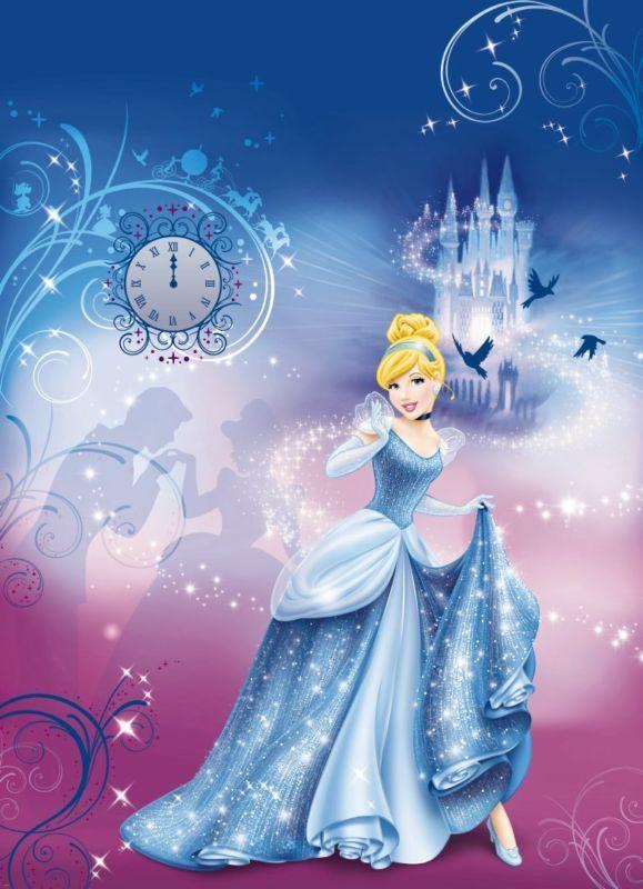 Mural De Pared Foto Wallpaper Para Niñas habitación Cenicienta Princesa Disney Azul Decoración
